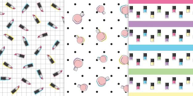 Nahtloses muster mit schönheits-make-upkosmetik für damen im lokalisierten freien vektorhintergrund