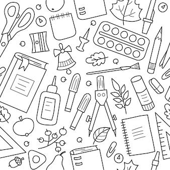 Nahtloses muster mit schul- und büromaterial im doodle-stil