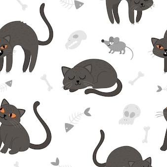 Nahtloses muster mit schwarzen katzen und der maus des netten vektors. digitales papier mit halloween-figuren. lustiger herbst-allerheiligen-hintergrund mit gruseligen tieren, schädeln, knochen für kinder.