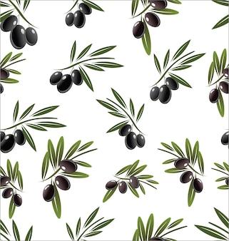 Nahtloses muster mit schwarzen olivenbaumzweigen auf weißem hintergrund