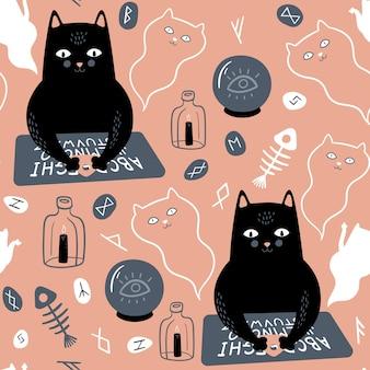 Nahtloses muster mit schwarzer katze ouija brett geister kristallkugel runen kerze und fischskelett