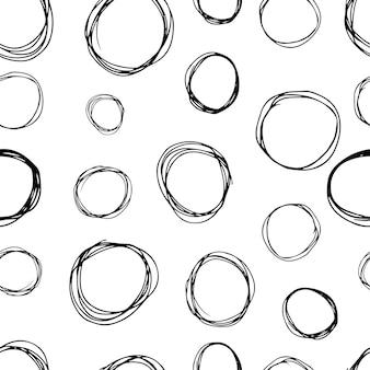 Nahtloses muster mit schwarzer skizze handgezeichneter pinselgekritzelkreisform auf weißem hintergrund. abstrakte grunge-textur. vektor-illustration