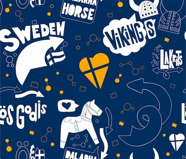 Nahtloses muster mit schweden