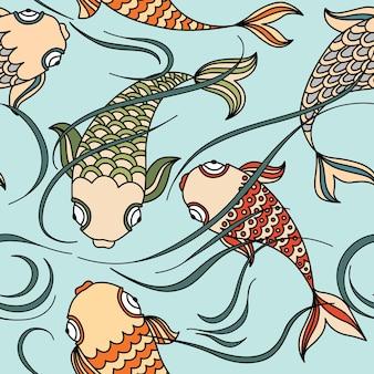 Nahtloses muster mit schwimmenden fischen im meer