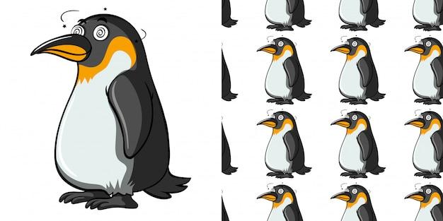 Nahtloses muster mit schwindelerregendem pinguin