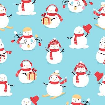 Nahtloses muster mit sechs schneemann in verschiedenen posen weihnachts- und neujahrssymbol traditional