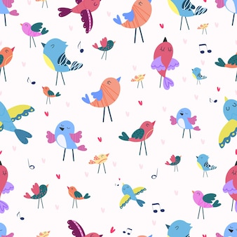 Nahtloses muster mit singvögeln