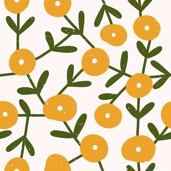 Nahtloses muster mit skandinavischen grünen und gelben blumen und blättern