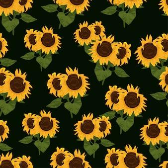 Nahtloses muster mit sonnenblumen und blättern