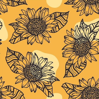 Nahtloses muster mit sonnenblumen