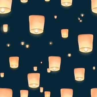Nahtloses muster mit spektakulärem blick auf chinesische laternen, die im nachthimmel fliegen