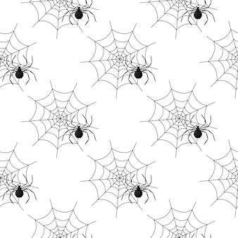 Nahtloses muster mit spinnennetz an halloween