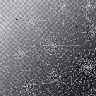 Nahtloses muster mit spinnennetz. halloween-dekoration mit spinnennetz. spinnennetz flacher vektor
