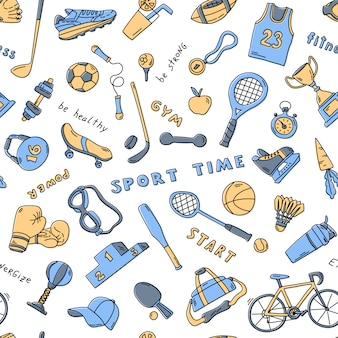 Nahtloses muster mit sportelementen und schriftzug. lustige gekritzelhand gezeichnete textur für stoff, verpackung, textil. flache illustration.