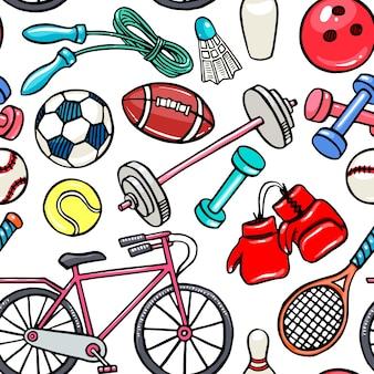 Nahtloses muster mit sportgeräten