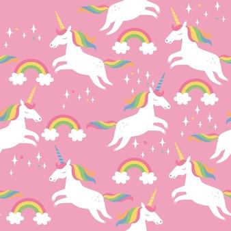 Nahtloses muster mit sternenregenbögen und einhörnern auf rosa hintergrund vektorillustration