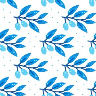 Nahtloses muster mit stilisiertem blauem olivenzweig auf weißem hintergrund