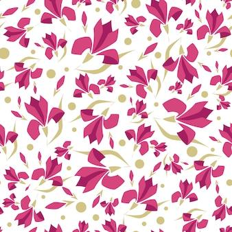 Nahtloses muster mit stilisierten blumen, magnolienblume