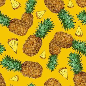 Nahtloses muster mit stück tropischen früchten auf gelb