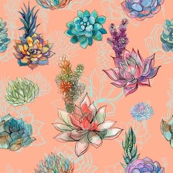 Nahtloses muster mit succulents