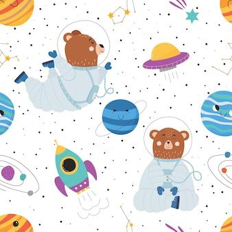 Nahtloses muster mit süßem bären im raumanzug raumschiff ufo planeten und sterne