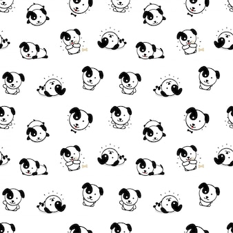 Nahtloses muster mit süßem panda