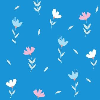 Nahtloses muster mit süßen blumen und blättern florales vektormuster auf blauem hintergrund