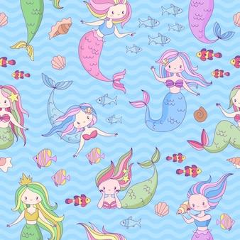 Nahtloses muster mit süßen kleinen meerjungfrauen und unterwasserweltdesign für tapeten, stoffdruck, kinderbuch, modekleidung vektortextur