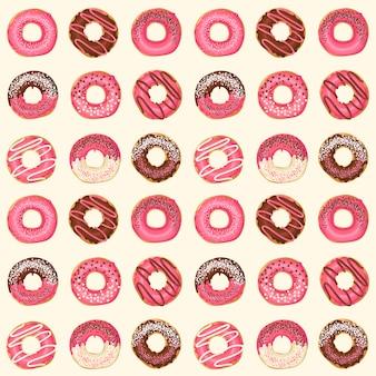 Nahtloses muster mit süßen rosa glasierten schaumgummiringen des vektors mit schokolade und pulver. food-design.