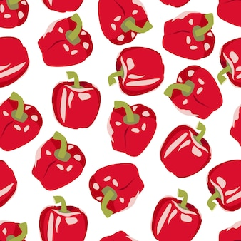 Nahtloses muster mit süßen roten paprikaschoten paprika lager vektor-illustration isoliert auf weiß