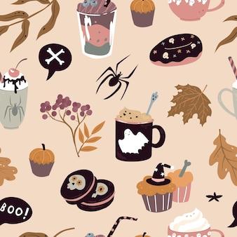 Nahtloses muster mit süßigkeiten für halloween-vektorillustration papier- und textildesign