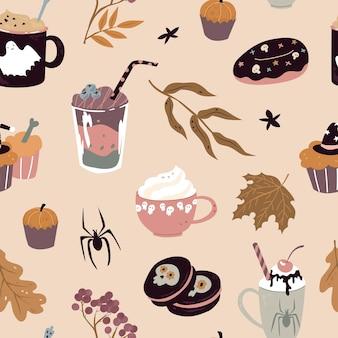 Nahtloses muster mit süßigkeiten für halloween-vektorillustration