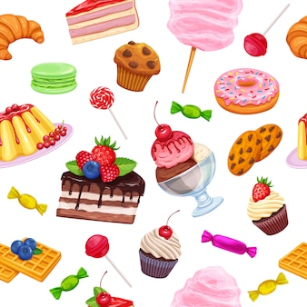 Nahtloses muster mit süßwaren und süßigkeiten