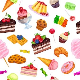Nahtloses muster mit süßwaren
