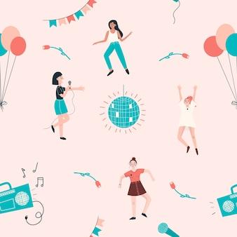 Nahtloses muster mit tanzenden frauen, luftballons, discokugel, tonbandgerät, blumen.