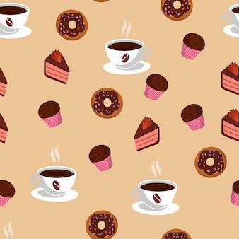 Nahtloses muster mit tasse kaffee und süßigkeiten. leckere bäckerei. beiger hintergrund.
