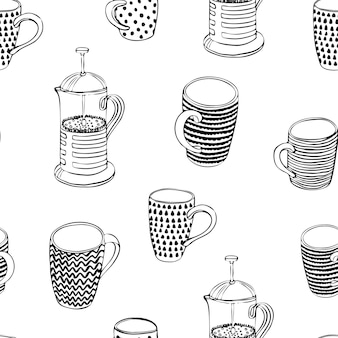 Nahtloses muster mit tassen und teekanne schwarz-weiß-vektor-illustration