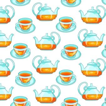 Nahtloses muster mit tee. im cartoon-stil. für design und dekoration.