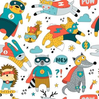 Nahtloses muster mit tieren in der lustigen superheldenkostümillustration