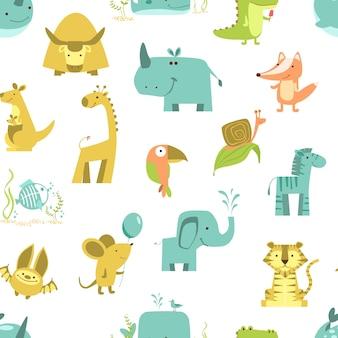 Nahtloses muster mit tieren netter tiervektor. zoo-illustrationsset