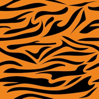 Nahtloses muster mit tigerfarbillustration mit schwarzen streifen der tigerstreifen auf einem orangefarbenen hintergrund