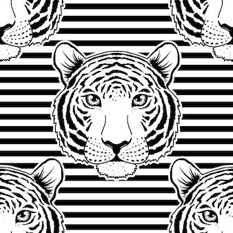 Nahtloses muster mit tigermaul auf gestreiftem hintergrund.