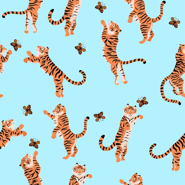 Nahtloses muster mit tigern, die mit schmetterlingen spielen