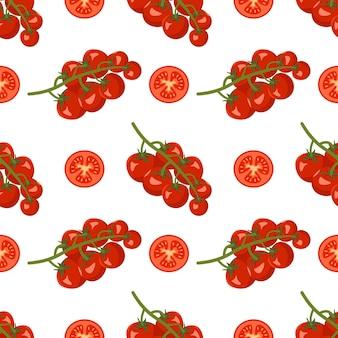 Nahtloses muster mit tomaten auf einem ast und scheiben gesundes veganes essen drucken rotes gemüse auf...