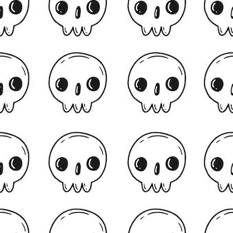 Nahtloses muster mit totenköpfen im niedlichen cartoon-doodle-stil auf weißem hintergrund