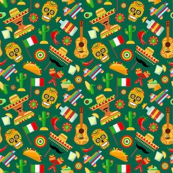 Nahtloses muster mit traditionellen mexikanischen attributen