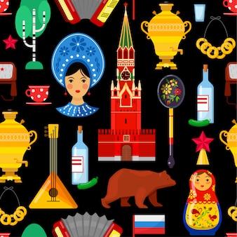 Nahtloses muster mit traditionellen russischen attributen