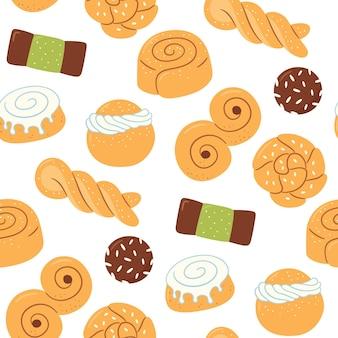 Nahtloses muster mit traditionellen schwedischen süßigkeiten