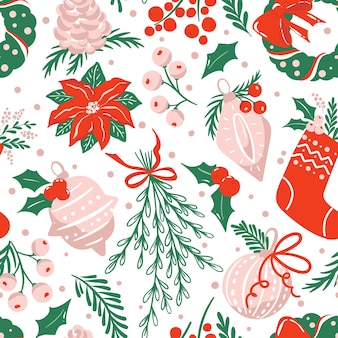 Nahtloses muster mit traditionellen weihnachtsschmuck und blättern