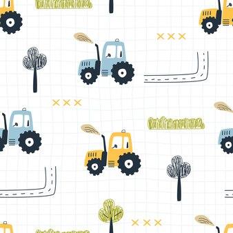 Nahtloses muster mit traktorbäumen und einer straße auf einem karierten hintergrund vektorillustration